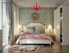 精美的家具和布局:漂亮的卧室皇冠新2网效果图