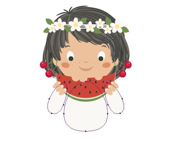 illustrator中绘制吃西瓜的可爱女孩