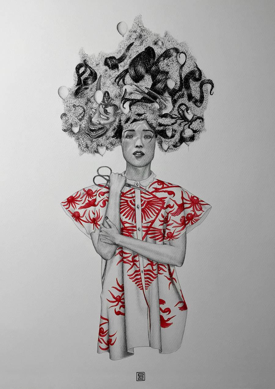 红与黑:Audrey Pol铅笔插画欣赏
