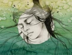 Elia Mervi超现实风格女性肖像插画欣赏