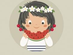 Illustrator中繪制吃西瓜的可愛女孩
