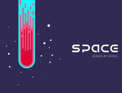 用AI绘制扁平化太空流星风格海报