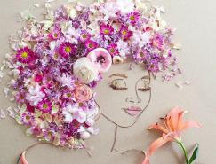 由植物和花卉打造的细腻肖像