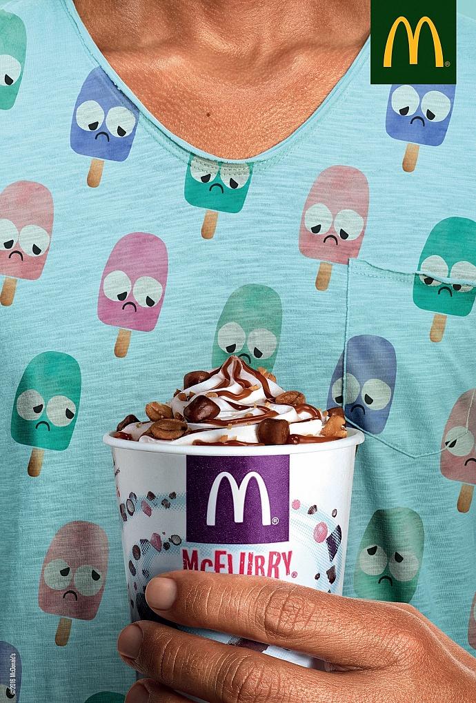 不高兴的雪糕:麦当劳创意广告设计