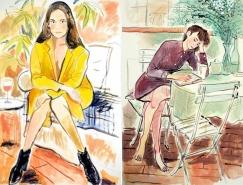 法国插画师Louis Thomas有趣的人物坐姿插画