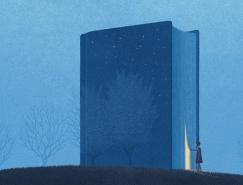 Jungho Lee以书为主题的超现实风格插画