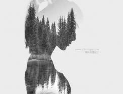 Photoshop制作人与山水结合的黑白二次曝光效果