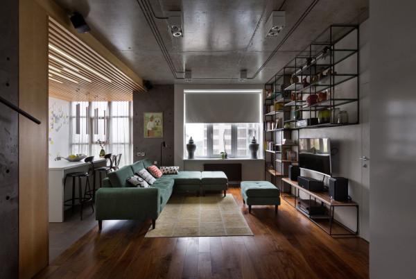 乌克兰80平米工业风格现代公寓设计