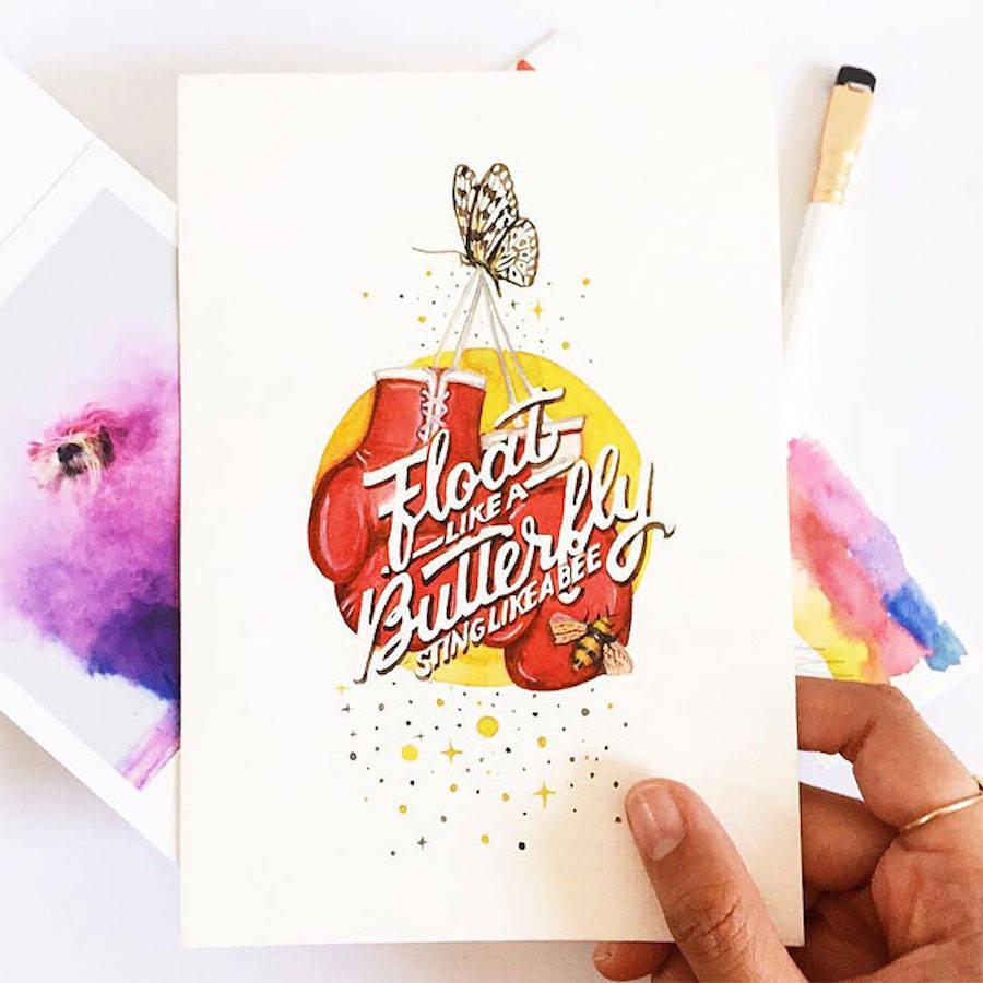 水彩与文字的结合:June Digan水彩风格的字体插画