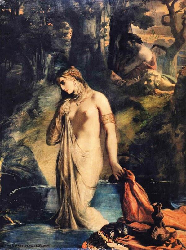 长老偷看苏珊娜洗澡 巴黎卢浮宫藏