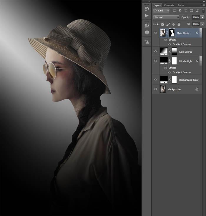 Photoshop打造唯美的暗调室内人像