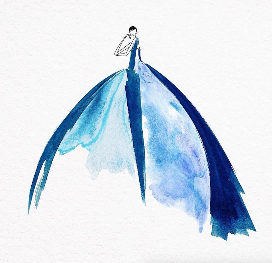 JaeSuk Kim时尚的水彩时装插画