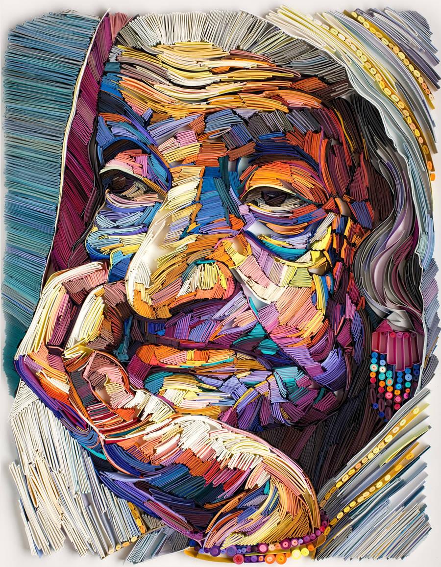 Yulia Brodskaya令人惊叹的纸艺肖像作品