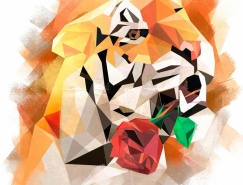 Ira Chet几何图形构成的动物插画