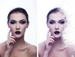 Photoshop将美女脸部加上打散颗粒效果