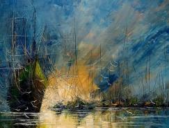 憂鬱的海景和古老的船隻
