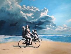 超现实的气氛:丹麦艺术家Thomas Juul Krahn宇航员系列绘画作品