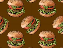 汉堡无缝背景矢量素材