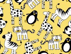 可愛卡通動物背景矢量素材
