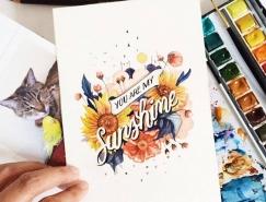 水彩与文字的结合:June Digan水彩风格的字体插