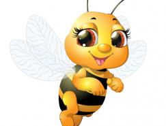 可爱卡通小蜜蜂矢量素材
