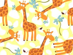 可爱卡通长颈鹿背景矢量素材