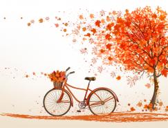 秋天红叶和自行车矢量素材