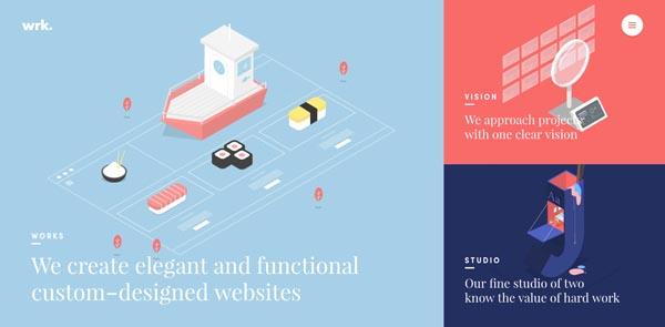 32个扁平作风插画背景的网站设计欣赏