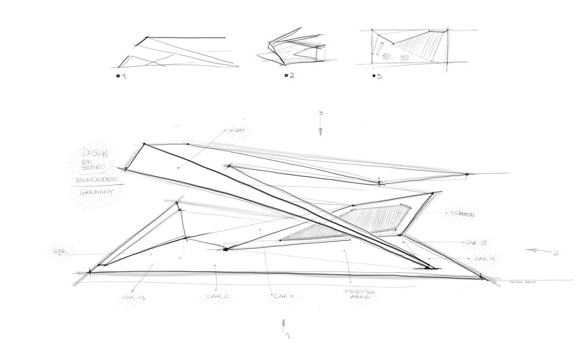 动感的梅赛德斯-奔驰展台设计