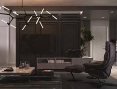 178平米豪華酷黑三居室裝