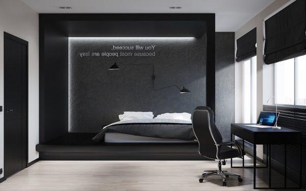 40个漂亮的黑白色卧室设计 2 设计之家