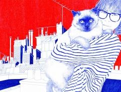 圆珠笔勾勒出法国的浓烈格调:Carine Brancowitz插画