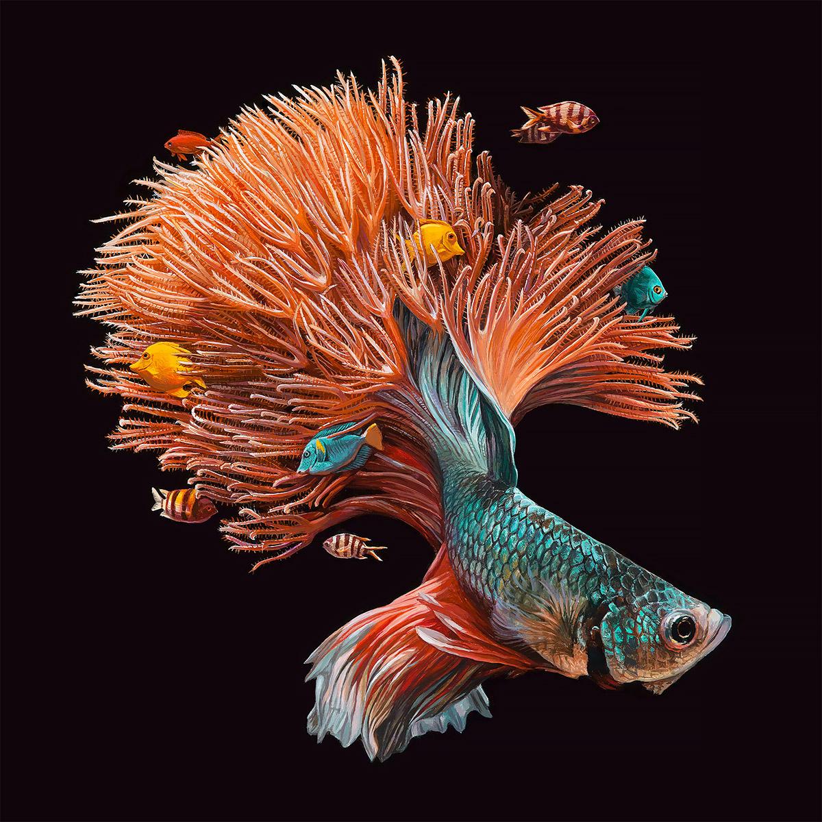 鱼和珊瑚:lisa ericson超现实主义绘画作品