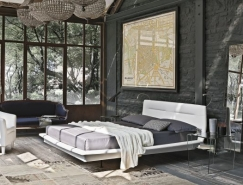 裸露的砖墙装饰的卧室设