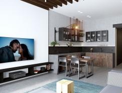 开放式布局空间的现代小公寓设计