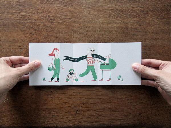 创意的新生儿贺卡和邀请卡设计