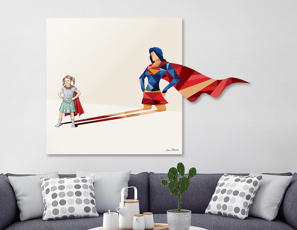 """艺术家Jason Ratliff通过一些简单的阴影想象力的创作来展示孩子们的异想天开的思维,他把这组作品命名为""""超级背影(Super Shadows)"""",孩子们都有一个成为超级英雄的梦想,如热门的电影系列蝙蝠侠、钢铁侠、蜘蛛侠等等,这些虚构的人物给了孩子们无限的遐想。作品用彩虹波普色块填充出人与物的倒影,使其变得鲜活、富有感染力。"""