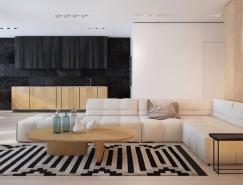 黑白和木色簡約風格家居裝修設計