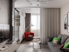 3个使用玻璃隔断墙的小公寓