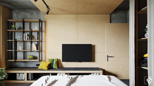 清水混凝土和原木木质的结合:工业风格家装设计