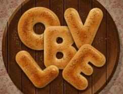 Photoshop制作细腻逼真的面包字