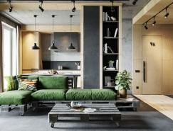 清水混凝土和原木木质的结合:工业风格家装设