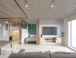 混凝土天花板和裸露的电线:52平米工业风格公寓