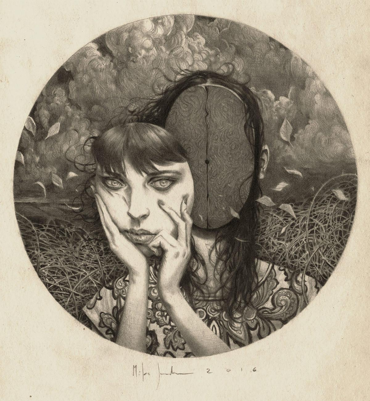 Miles Johnston超现实女孩素描肖像画