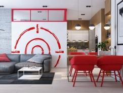 感受红色韵味:3个现代公寓室内装饰