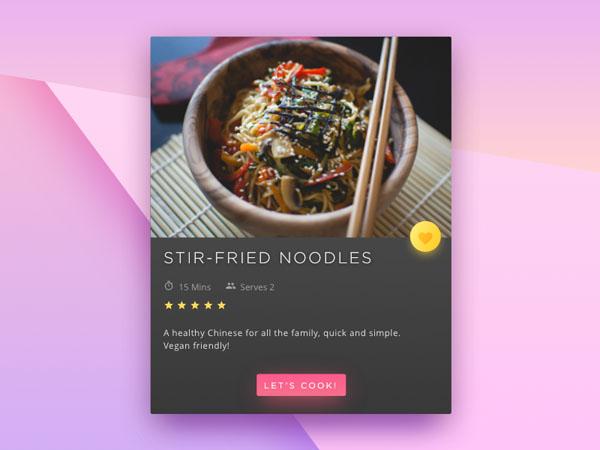25个食谱小部件UI设计