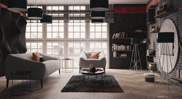 浓郁书香气息的客厅书墙设计