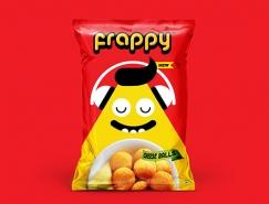 可愛卡通風格的Frappy膨化食品包裝設計