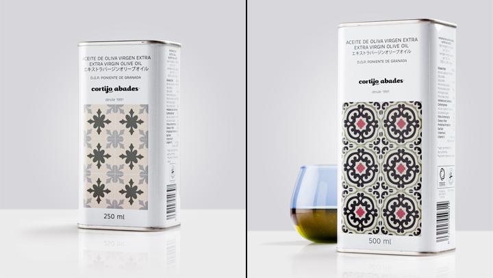 传统花纹图库的Cortijo Abades橄榄油包装
