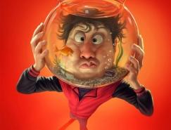 Tiago Hoisel:鼻炎药广告滑稽肖像插画